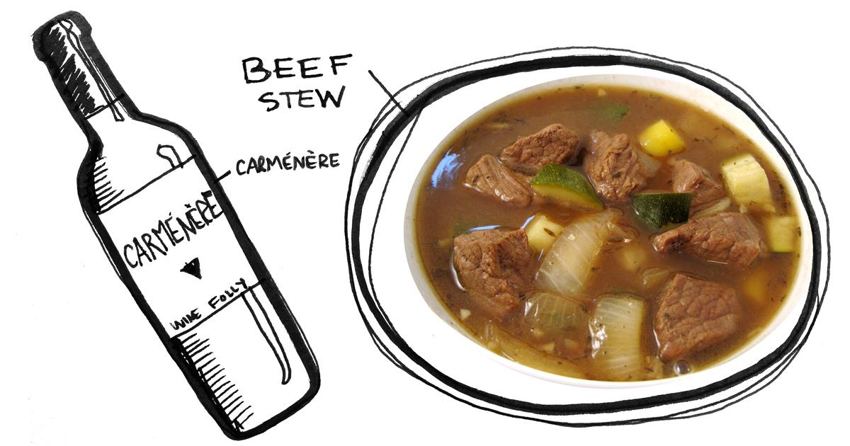 beef-stew-carmenere-pairing-winefolly-illustration