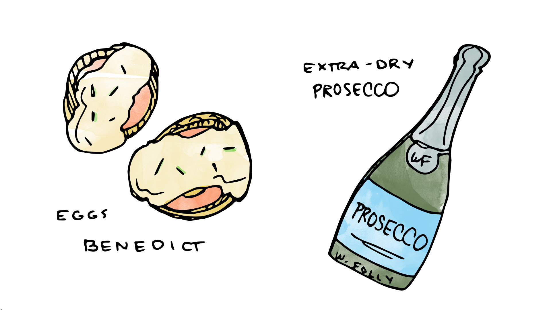 Eggs Benedict wine pairing with Prosecco illustration by Wine Folly
