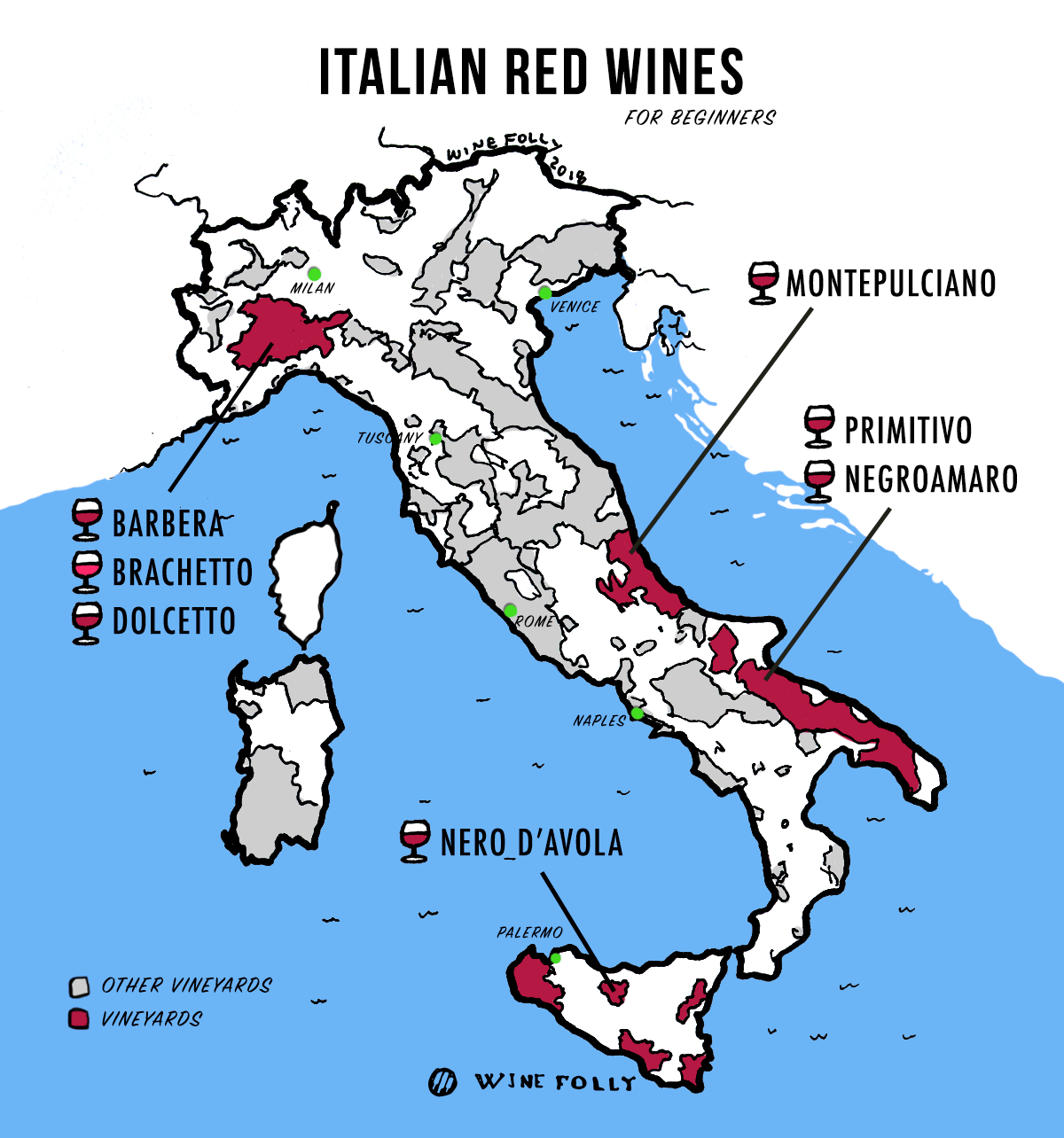 Best Italian Red Wines for Beginners - Illustrated Italy Wine Map by Wine Folly