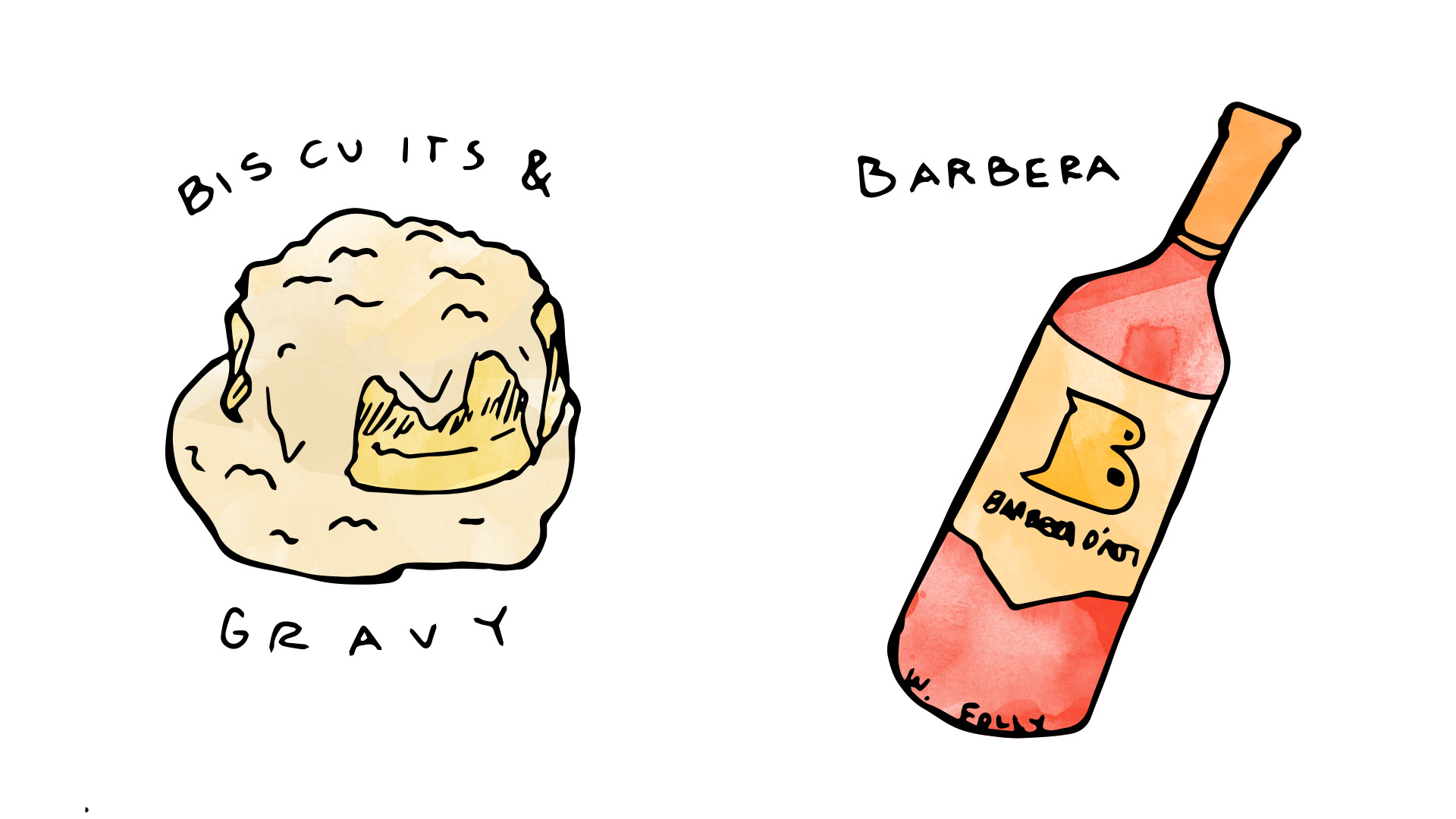 Biscuit and Gravy wine pairing with Barbera illustration by Wine Folly