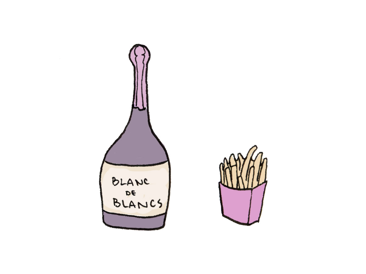 Blanc de Blancs Sparkling wine and French Fries