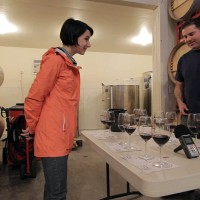 blending wine with Sam at Pandora cellars