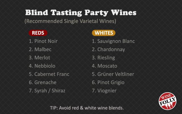 blind wine tasting party selected wines