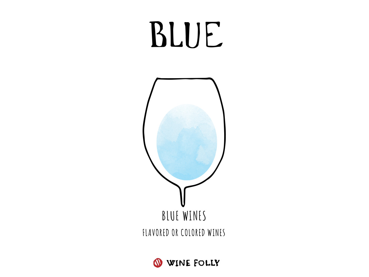 Blue wine color in glass illustration by Wine Folly