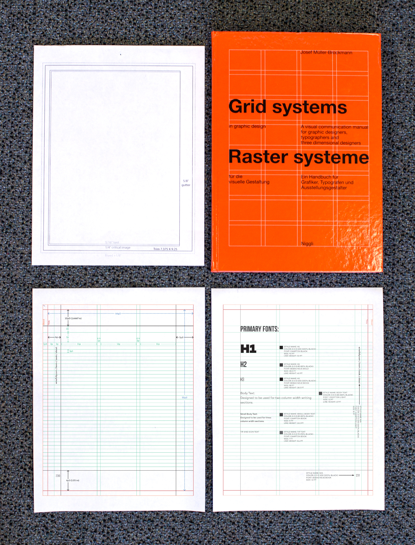 Grid system design for book layout - fonts and grids