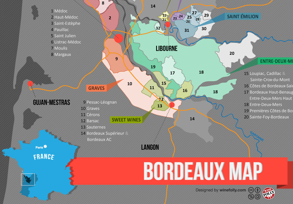 Image result for bordeaux wine map
