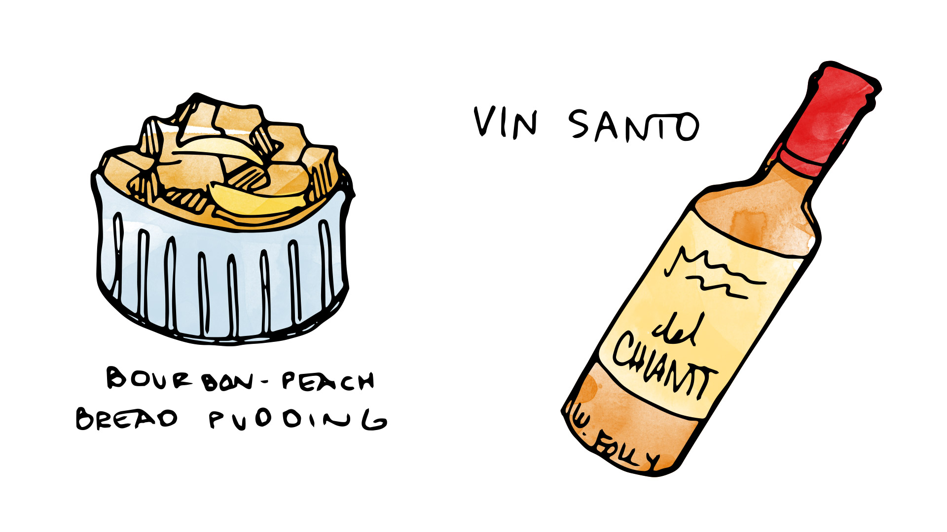 Peach Bourbon Bread Pudding wine pairing with Vin Santo illustration by Wine Folly