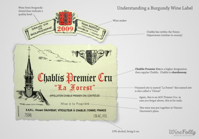 Vincent Dauvissat 2009 Primier Cru Chablis Burgundy Wine Label