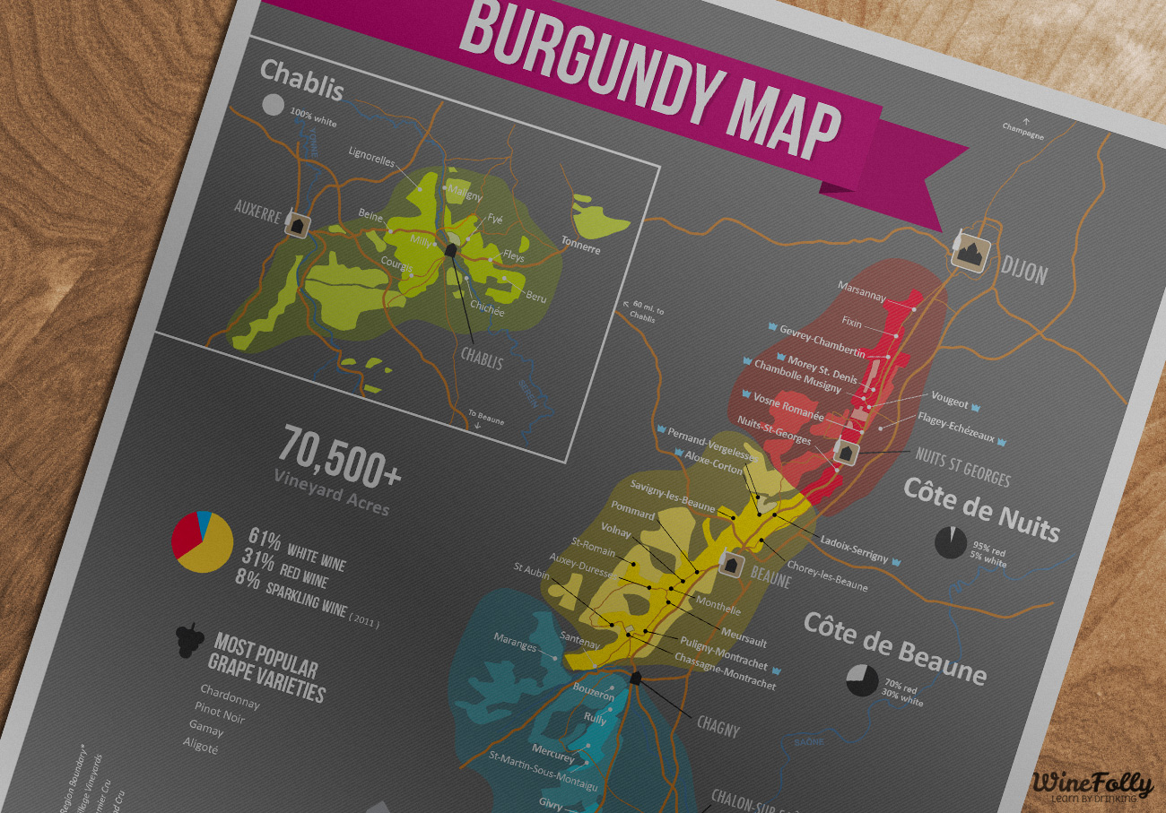 Burgundy Wine Map Excerpt - by Wine Folly