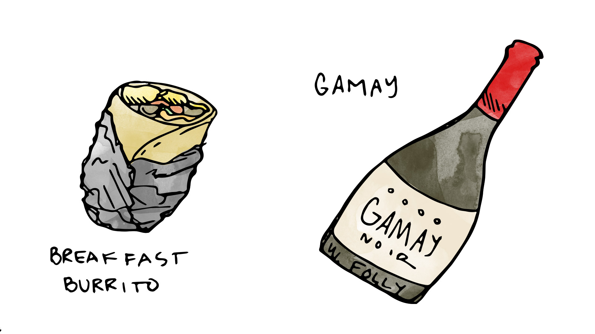 Breakfast burrito wine pairing with Gamay Noir illustration by Wine Folly