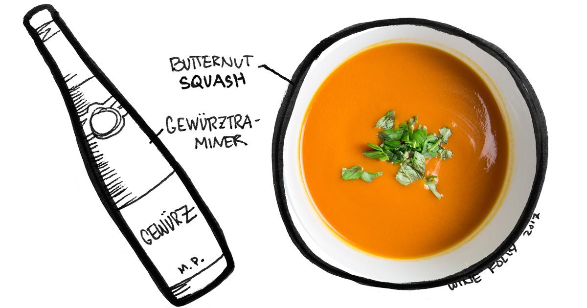 butternut-squash-soup-gewurztraminer-pairing-winefolly-illustration