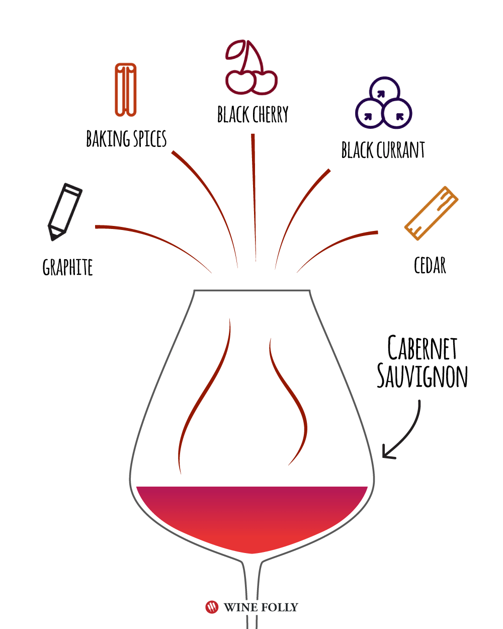 Cabernet Sauvignon Tasting Notes - Illustration by Wine Folly