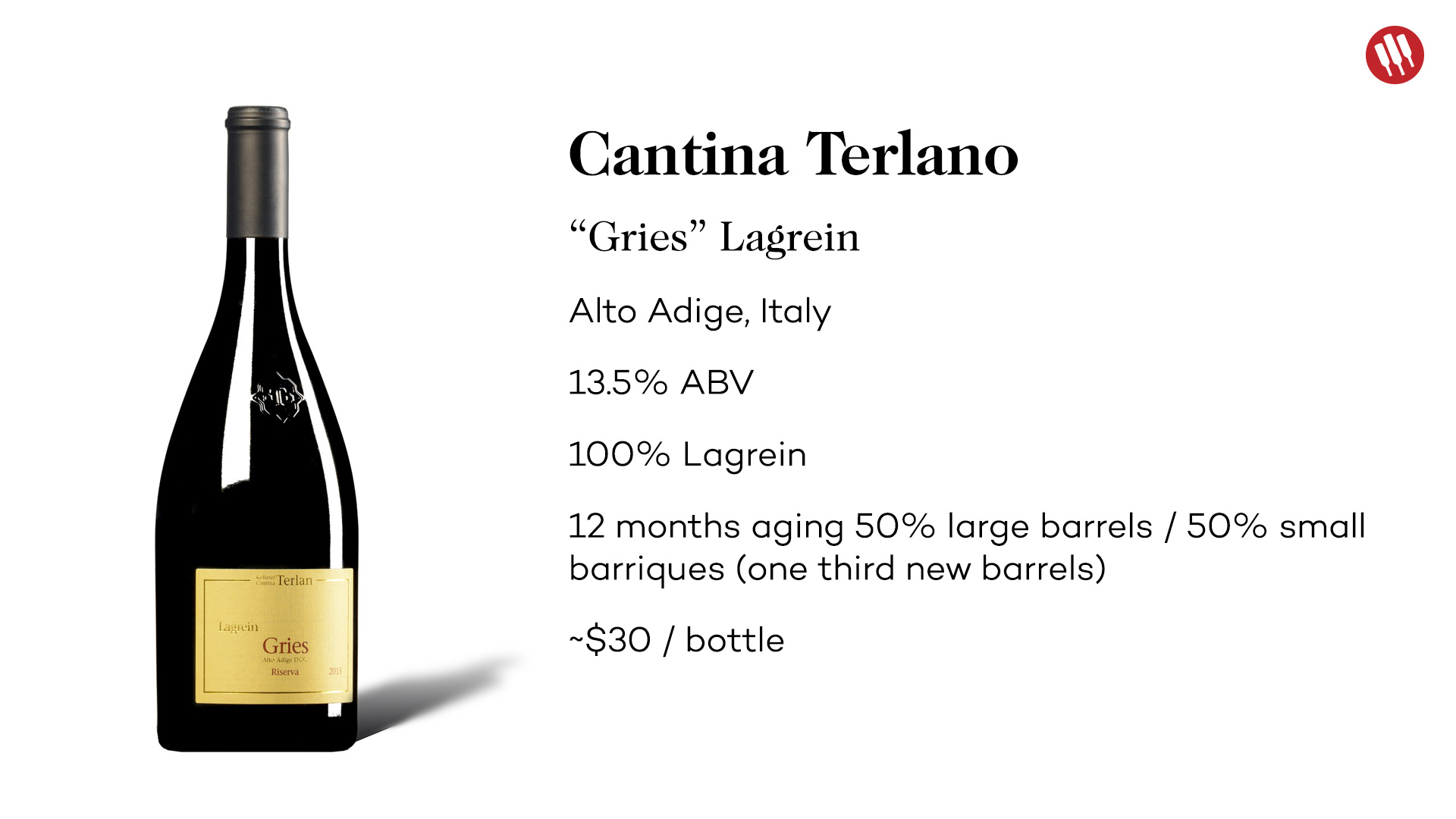 Cantina Terlano Gries Lagrein from Alto Adige tech sheet