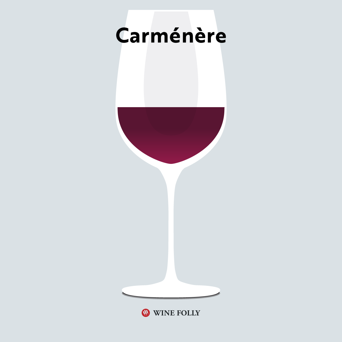 Carmenere in a glass - illustration by Wine Folly