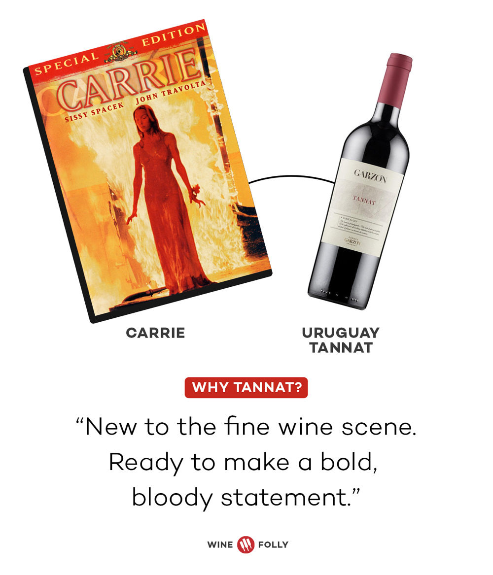 Carrie and Uruguay Tannat Horror Movie Wine Pairings