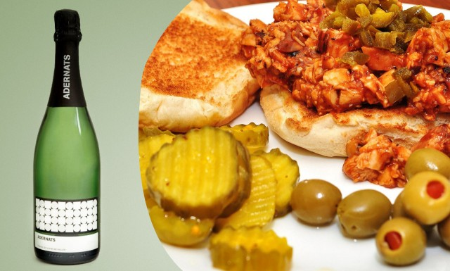Try a dry Cava with bbq chicken and pickles