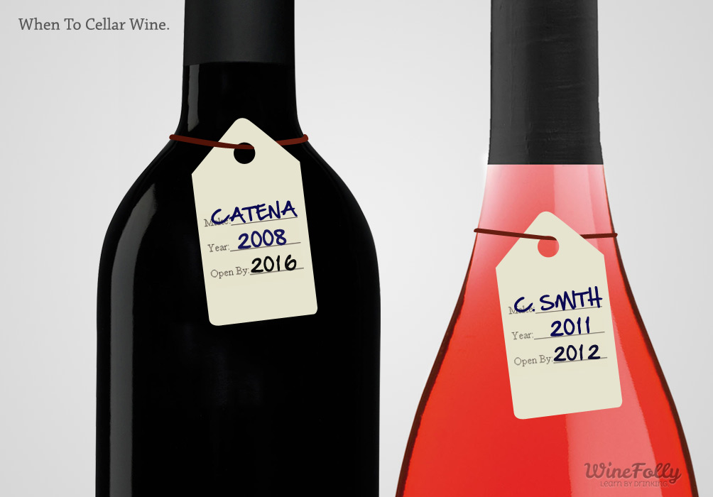 Cellar wine tags rose and red wine