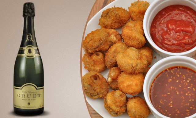 Try a fruity Blanc de Noirs with fried mushrooms