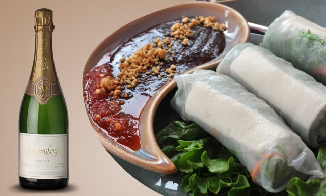 try a demi-sec (off-dry) sparkling wine with asian spring rolls
