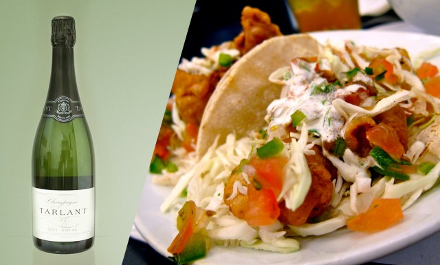 Try a Brut Nature or Brut Zero with high acidity with fish tacos
