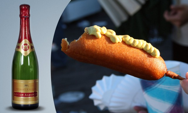 Try a Cremant with a hot dog, it's cheaper