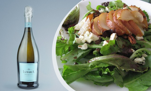 Try a dry to barely sweet prosecco with pear gorgonzola salad