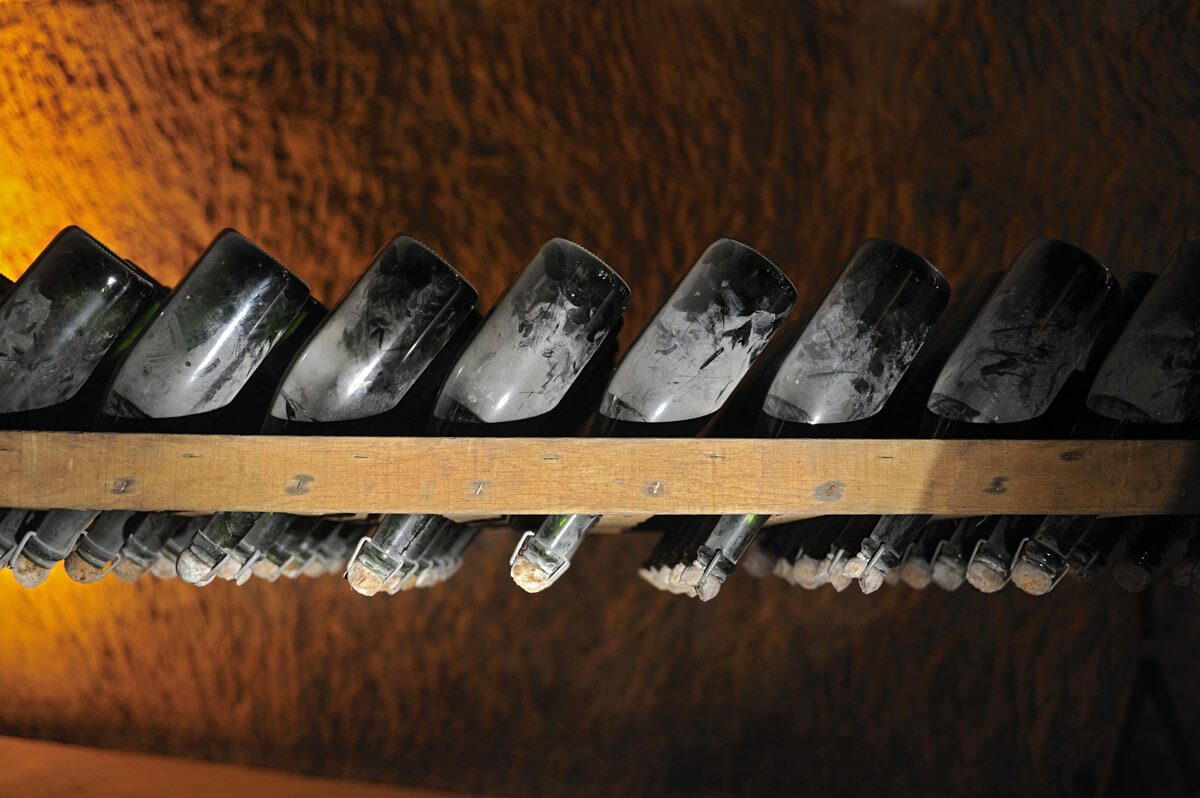 Champagne riddling table - first invented in 1816 by Madame Clicquot - recreation at Veuve Clicquot