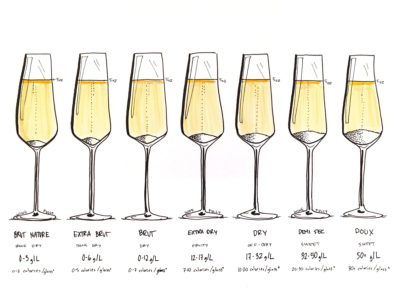 Champagne Sweetness Levels Illustrated by Wine Folly
