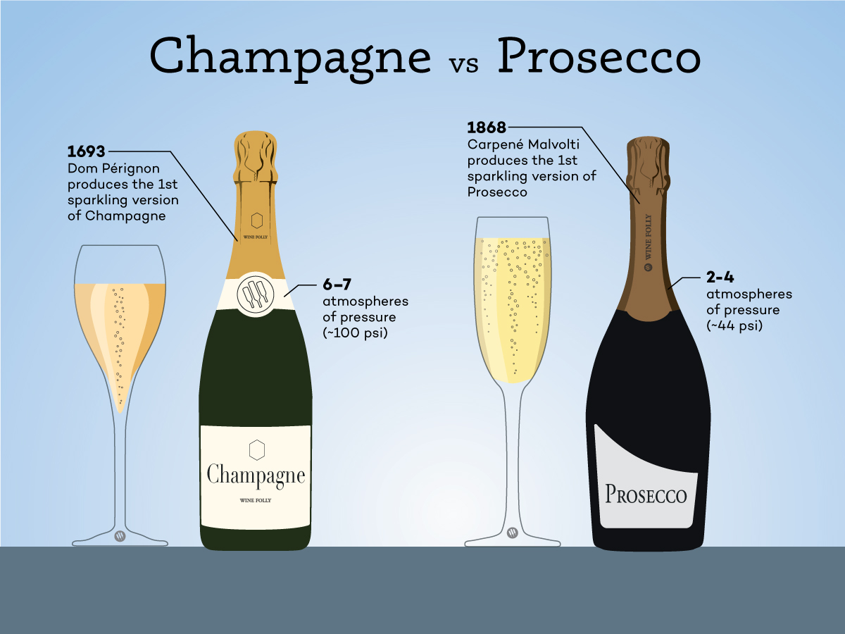 Champagne vs Prosecco comparison - by Wine Folly