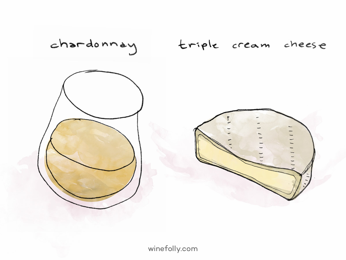 Chardonnay wine pairs excellently with Brie-style cheeses.