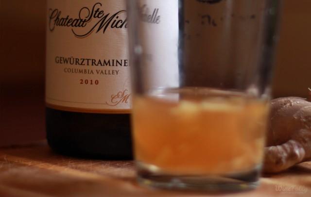 add 3 oz of gewurztraminer to cocktail glass