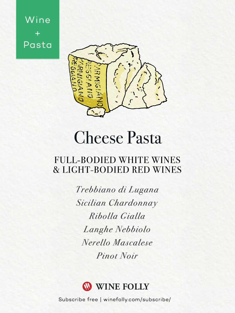 Cheese pasta wine pairing recommendations