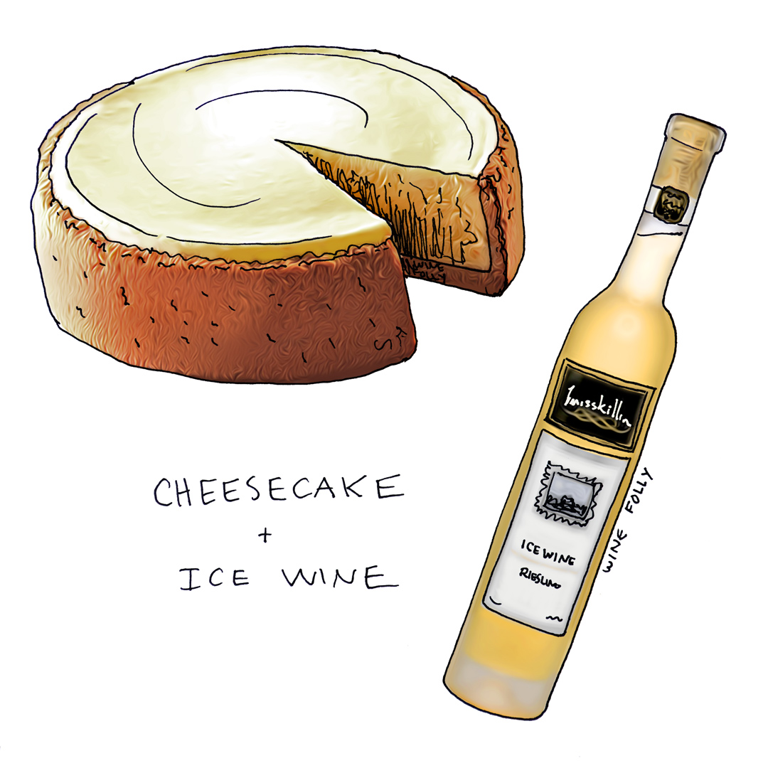 Cheesecake and Wine Pairing with Riesling Ice Wine Illustration by Wine Folly