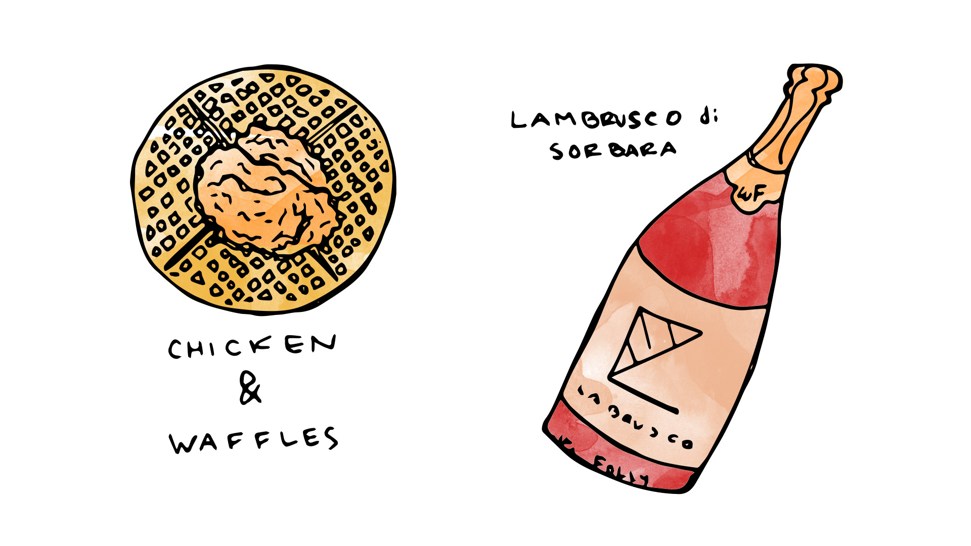 Chicken and waffles wine pairing with Lambrusco di Sorbara illustration by Wine Folly
