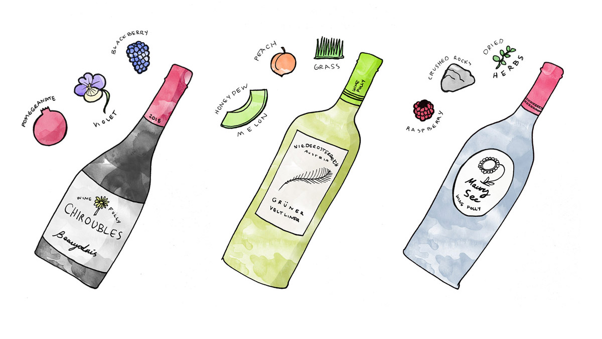 Wine Bottle Illustrations of Maury Sec, Chiroubles, and Gruner Veltliner