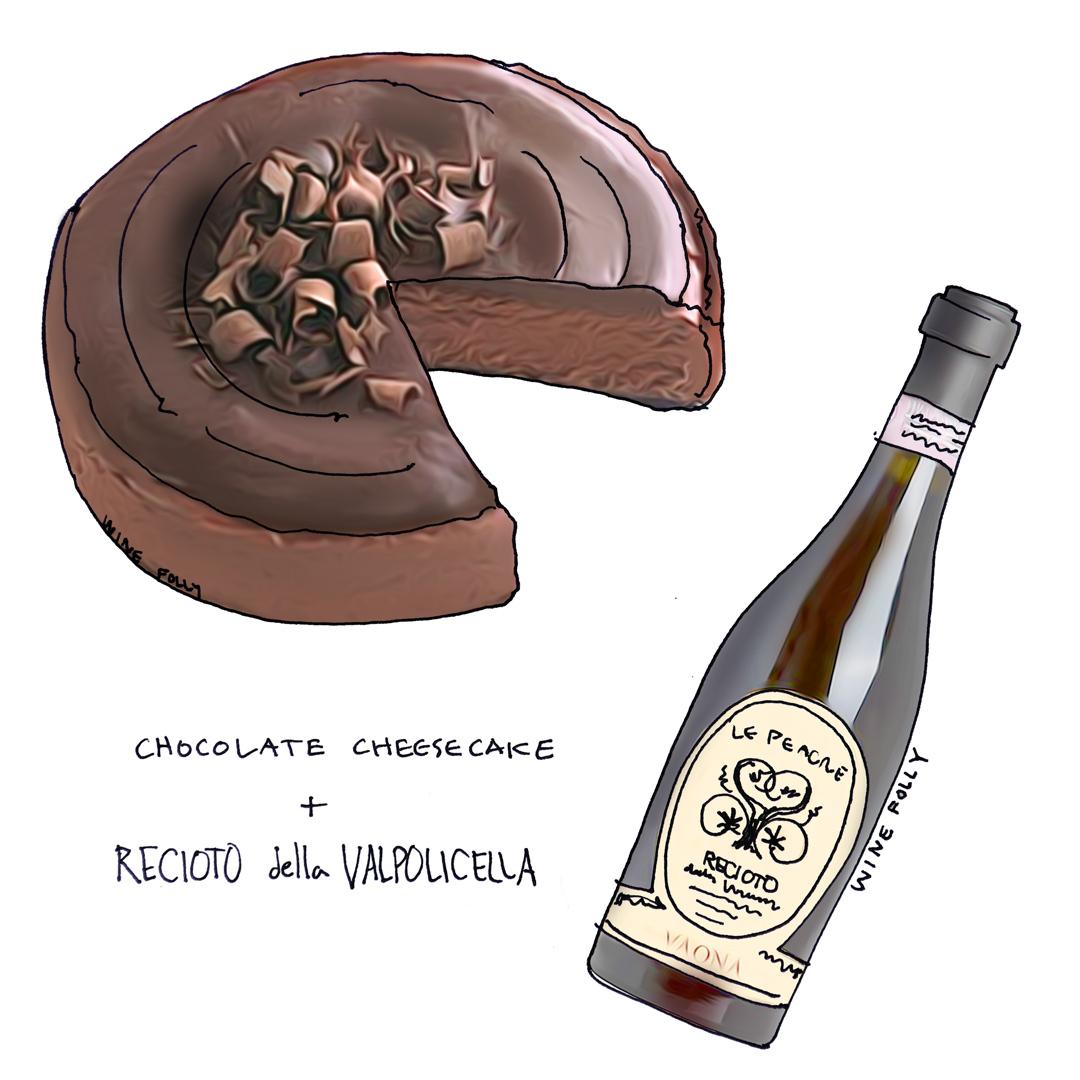 Chocolate Cheesecake and Wine Pairing with Recioto della Valpolicella illustration by Wine Folly