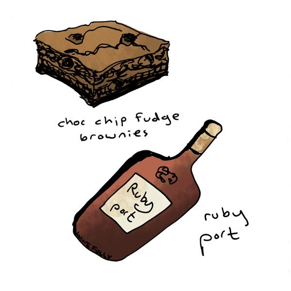 chocolate-chip-fudge-brownies-and-ruby-port-wine