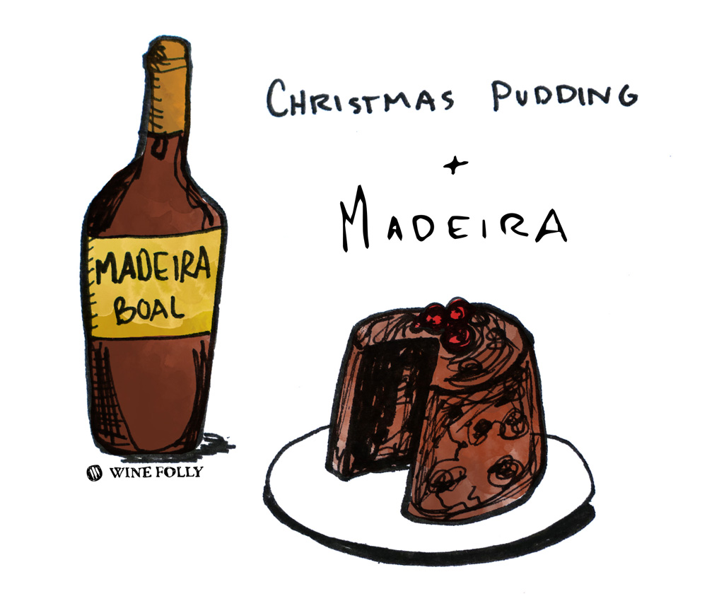 Christmas Pudding Wine Pairing Illustration by Wine Folly