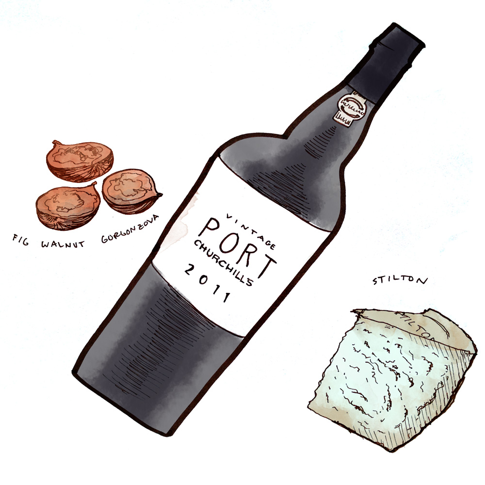 churchills-vintage-port-pairing-stilton-illustration