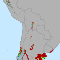 Change in areas suitable for growing wine grapes through 2050 in Chile and Argentina. by conservation.org