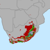 Change in areas suitable for growing wine grapes through 2050 in South Africa. by conservation.org