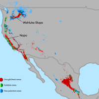 Change in areas suitable for growing wine grapes through 2050 in Western United States. by conservation.org
