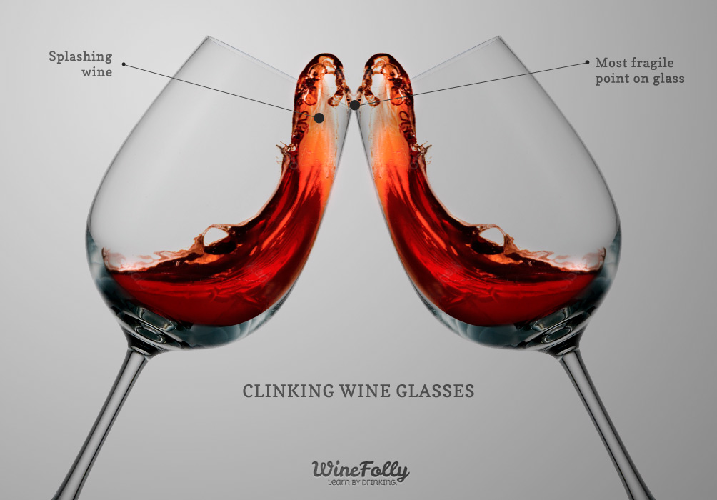 Clinking wine glasses with splash