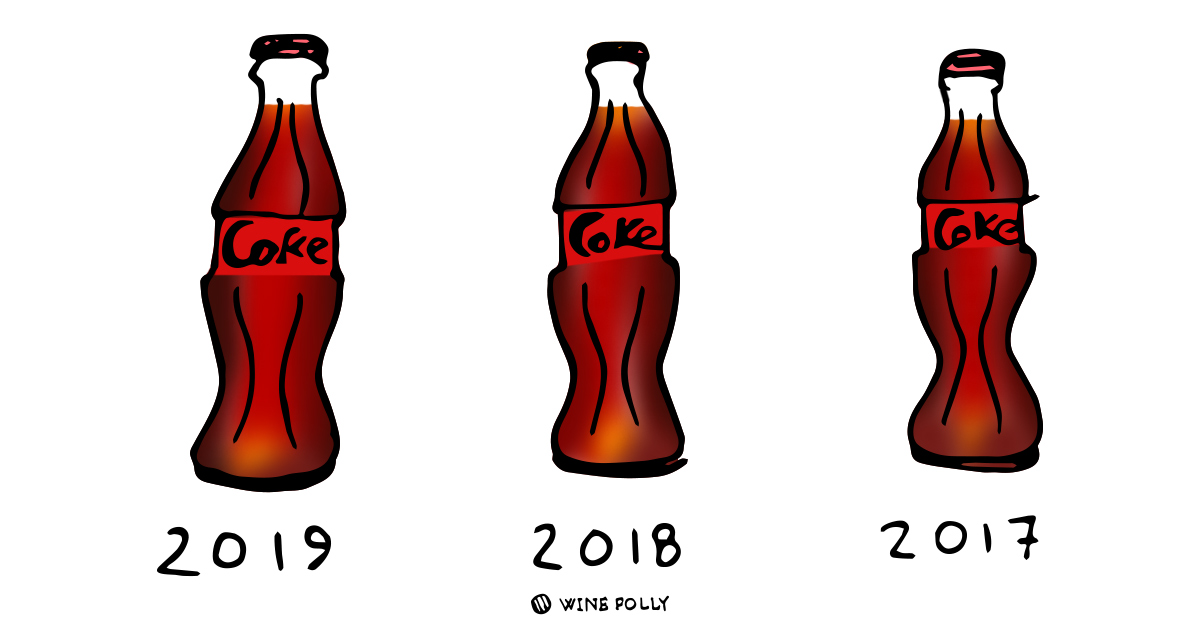 Coke vintages illustration - by Wine Folly