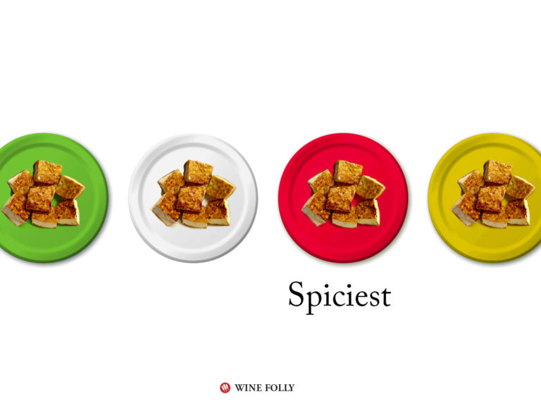 The color of the plate affects the perception of taste. Red is spicier