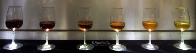 Colors of different port wine styles in port glasses