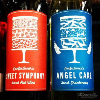 sweet red wine and sweet chardonnay... all in the name of cake