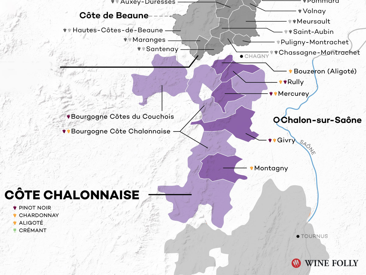 Cote Chalonnais Wine Map - Burgundy - Wine Folly