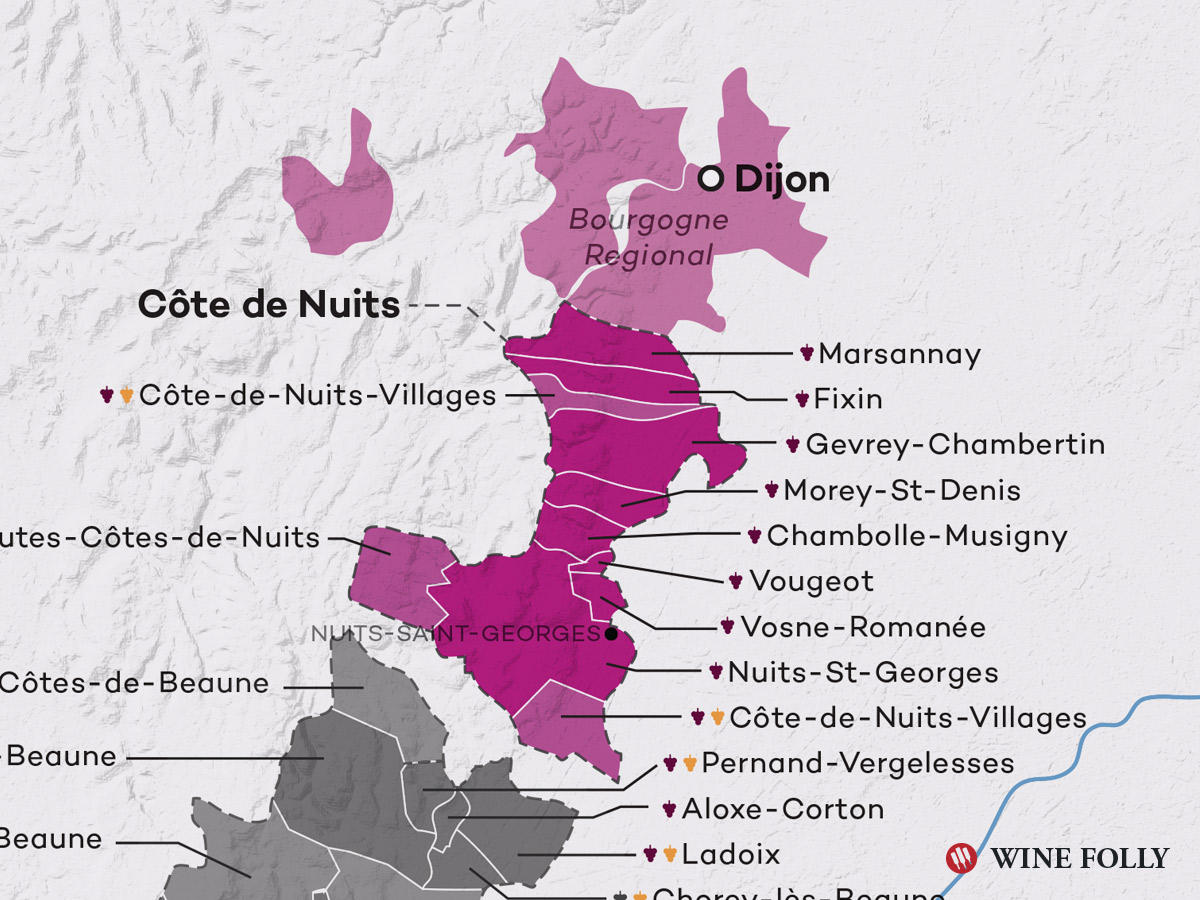 Côte de Nuits Bourgogne Burgundy Wine Map by Wine Folly