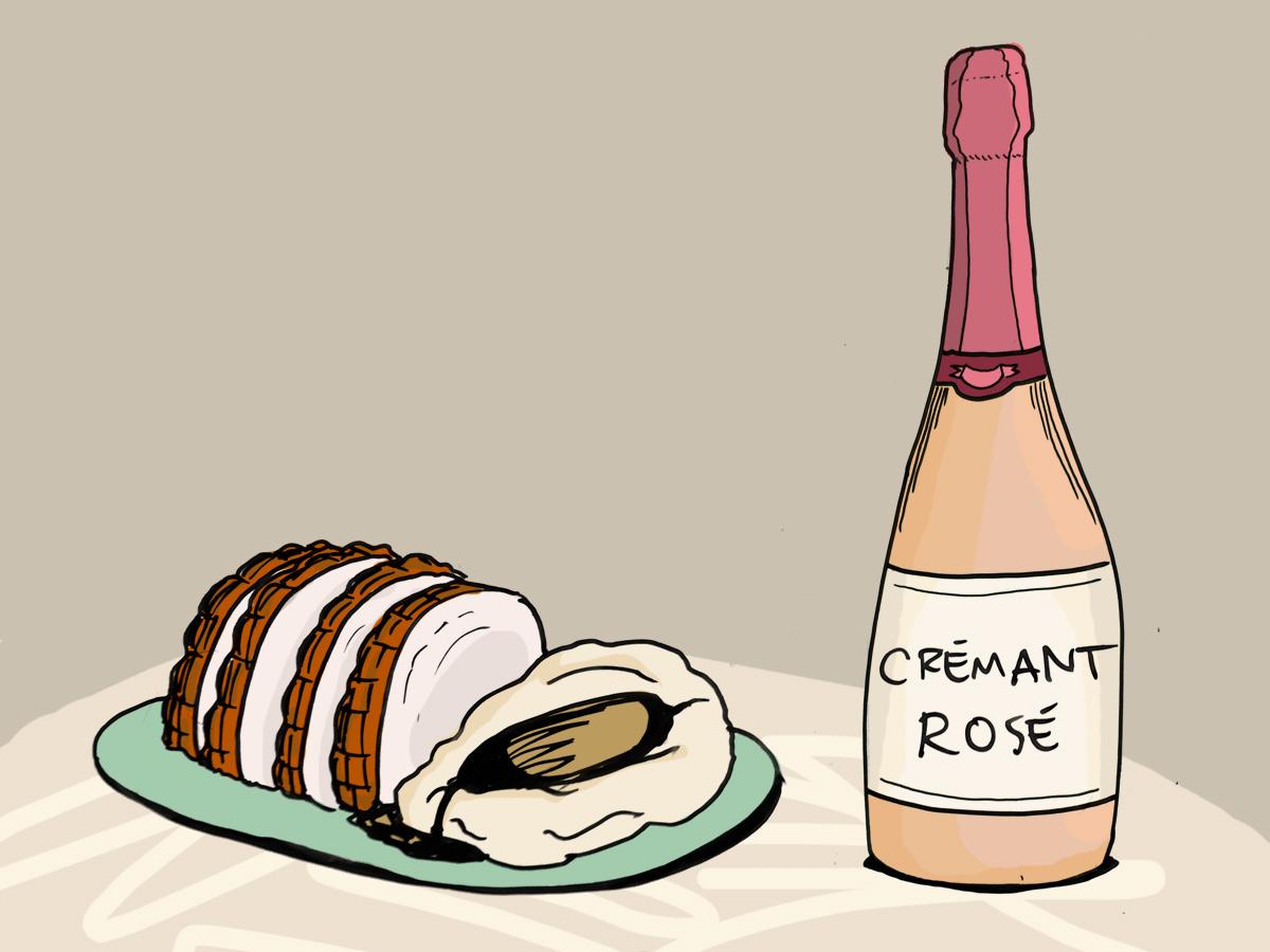 cremant-rose-wine-roast-pork